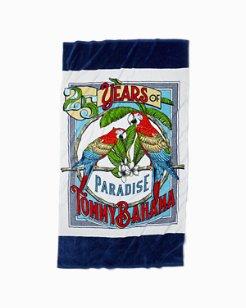 25th Anniversary Parrot Beach Towel