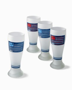 Surf Flag Pilsner Glasses - Set of 4