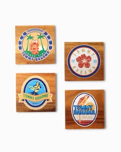 Beer Label Wood Coaster Set