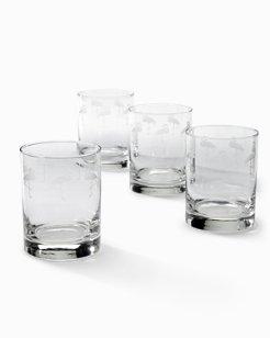 Flamingo Double Old Fashioned Glasses - Set of 4