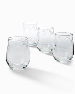 Flamingo Stemless Wine Glasses - Set of 4