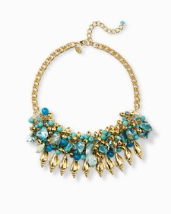 Golden Turquoise-Tone Statement Necklace