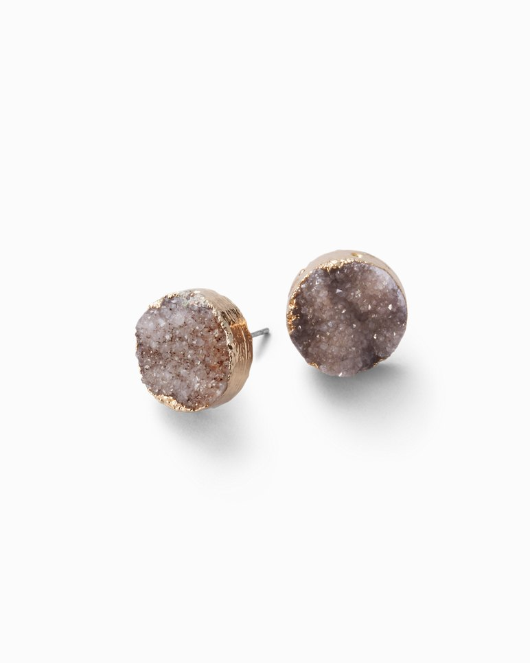silver druzy stud grey angel lisa earrings sterling stone