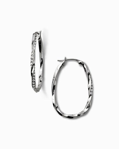 Twisted Pavé Hoop Earrings With Swarovski® Crystals