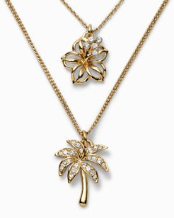 Swarovski® Crystal Hibiscus Palm Necklace