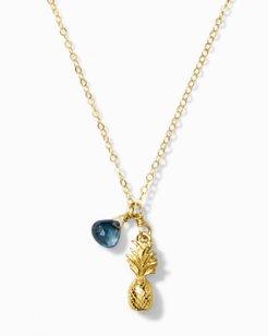 Mini Pineapple Blue Stone Necklace