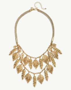 Golden Feather Cord Necklace