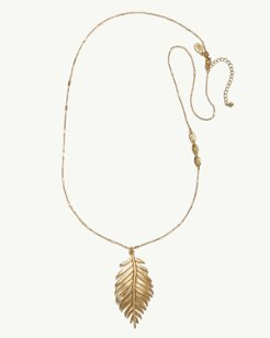 Golden Feather Pendant Necklace