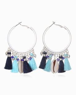 Seashell Tassel Hoop Earrings