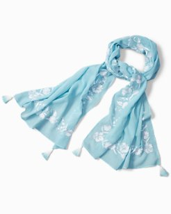 Embroidered Blossoms Scarf