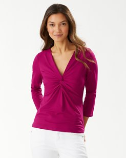 Pearl Twist Front 3/4-Sleeve Rash Guard