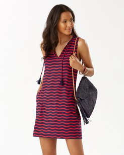 Sea Swell Split-Neck Dress