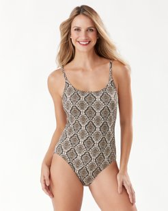 Desert Python Reversible One-Piece Swimsuit