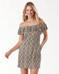 Desert Python Off-The-Shoulder Ruffle Dress