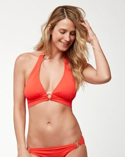 Pearl Halter Bikini Top With Center Ring