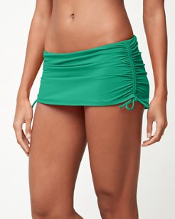 Pearl Side-Shirred Skirted Hipster Bikini Bottoms