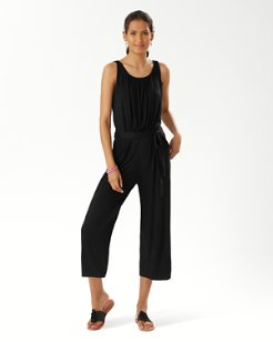 Slub Knit Cropped Jumpsuit