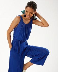 Slub Knit Cropped Jumpsuit