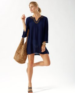 Split-Neck Beaded Tunic