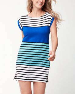Colorblock Breton Rolled-Sleeve Dress