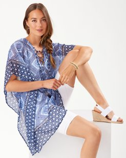 Tidal Tiles Lace-Up Tunic