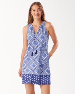Tidal Tiles Split-Neck Dress