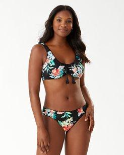 Floral Springs Reversible Tie-Front Bikini Top