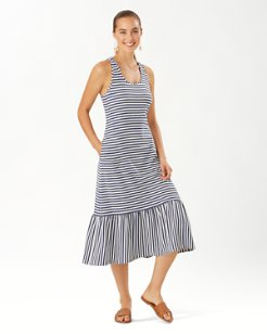 Blue Depths Stripe Midi Dress