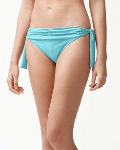 Pearl Shirred Side-Tie Hipster Bikini Bottoms