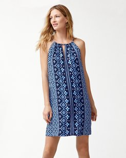 Indigo Cowrie High-Neck Dress