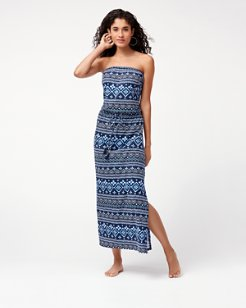 Indigo Cowrie Bandeau Maxi Dress