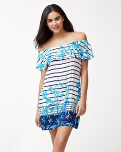 Tropical Swirl Off-The-Shoulder Dress