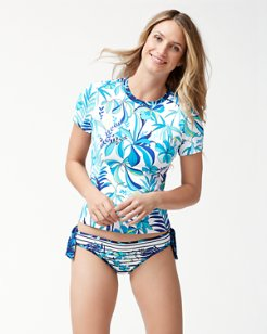 Tropical Swirl Short-Sleeve Rash Guard