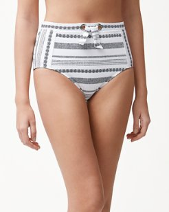 Sandbar Stripe Textured High-Waist Bikini Bottoms