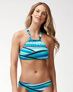 Winding Wave Reversible High-Neck Bikini Top