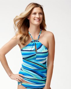 Winding Wave High-Neck Tankini