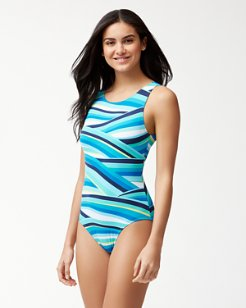 Winding Wave High-Neck One-Piece Swimsuit