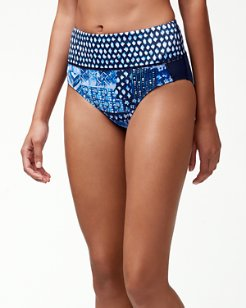 IslandActive™ Indigo Patchwork High-Waist Bikini Bottoms