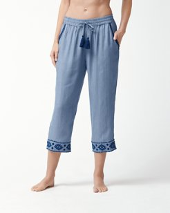 Chambray Embroidered Pants