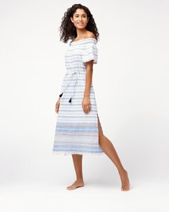 Linen Cotton Off-The-Shoulder Dress