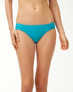 Pearl Side-Shirred Hipster Bikini Bottoms