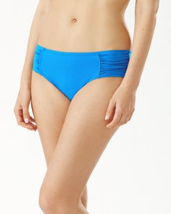 Pearl High-Waist Side-Shirred Bikini Bottoms