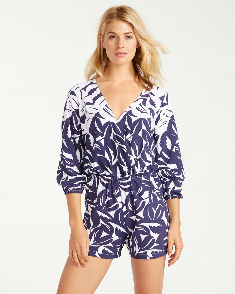 Main Image for Graphic Jungle 3/4-Sleeve Surplice Romper