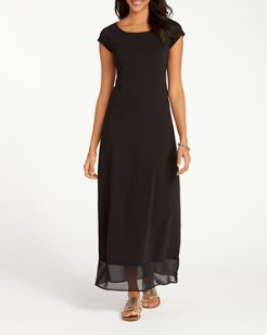 Knit & Chiffon Cap-Sleeve Maxi Dress