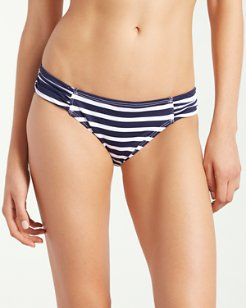 Breton Stripe Side-Shirred Hipster Bikini Bottoms