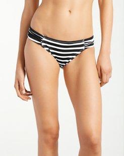 Breton Stripe Side-Shirred Hipster Bikini Bottoms