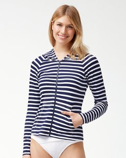 Breton Stripe Long-Sleeve Full-Zip Rash Guard