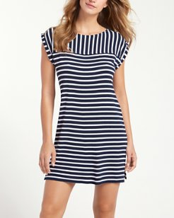 Breton Stripe Rolled-Sleeve Dress