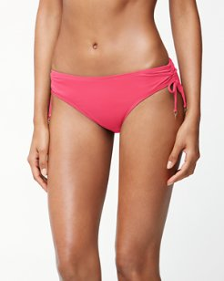 Pearl Side-Shirred Hipster Bikini Bottoms With Strings