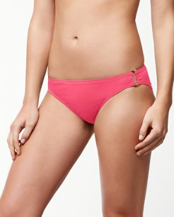 Pearl Hipster Bikini Bottoms with Rectangle Hardware